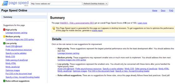page speed google webseo